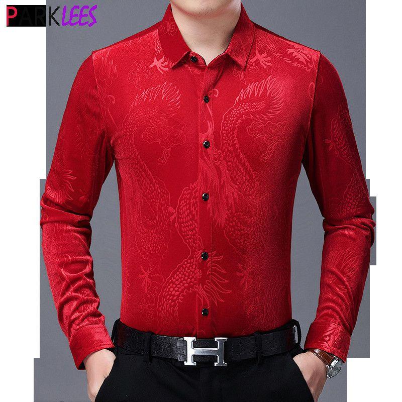 Vestido de terciopelo rojo Camisas 2020 Moda Chino Dragón Jacquard Velor Slim Fit Camisa Hombres Casual Cálido Botón Down Down Chemise Homme