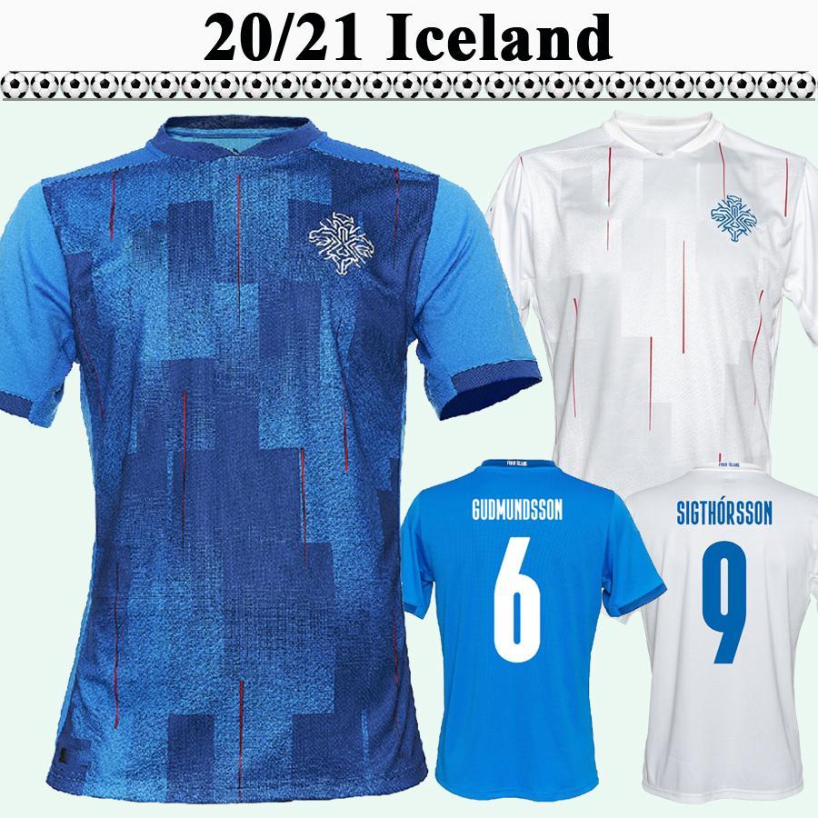 2021 Islande Mens Soccer Jerseys Nouveau Ingason Gunnarson Gudmundson Traustason Team National Home Blue Away White Football Shirt Uniformes