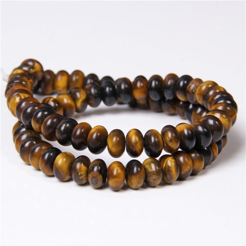Natural Yellow Tiger Eye Pologne Loose Spacer Plat Rougeelle Perles lisses DIY pour bijoux Colliers fabrication de bracelet 4 * 6/5 * 8mm Cadeau