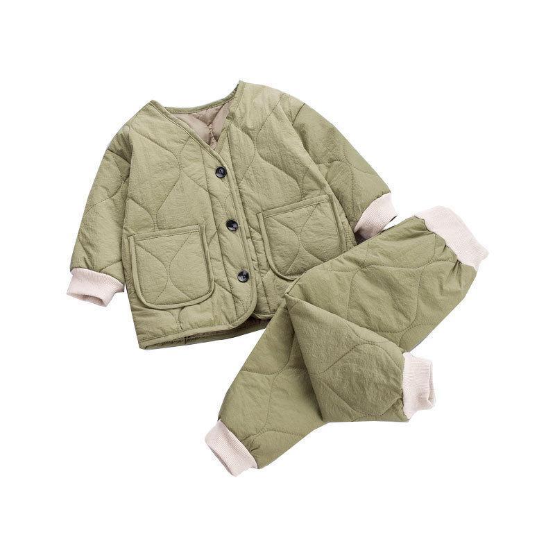 Novo inverno crianças moda manter roupas quentes crianças meninos meninas engrossar calças jaqueta 2 pcs / sets baby infantil roupas casuais 20116