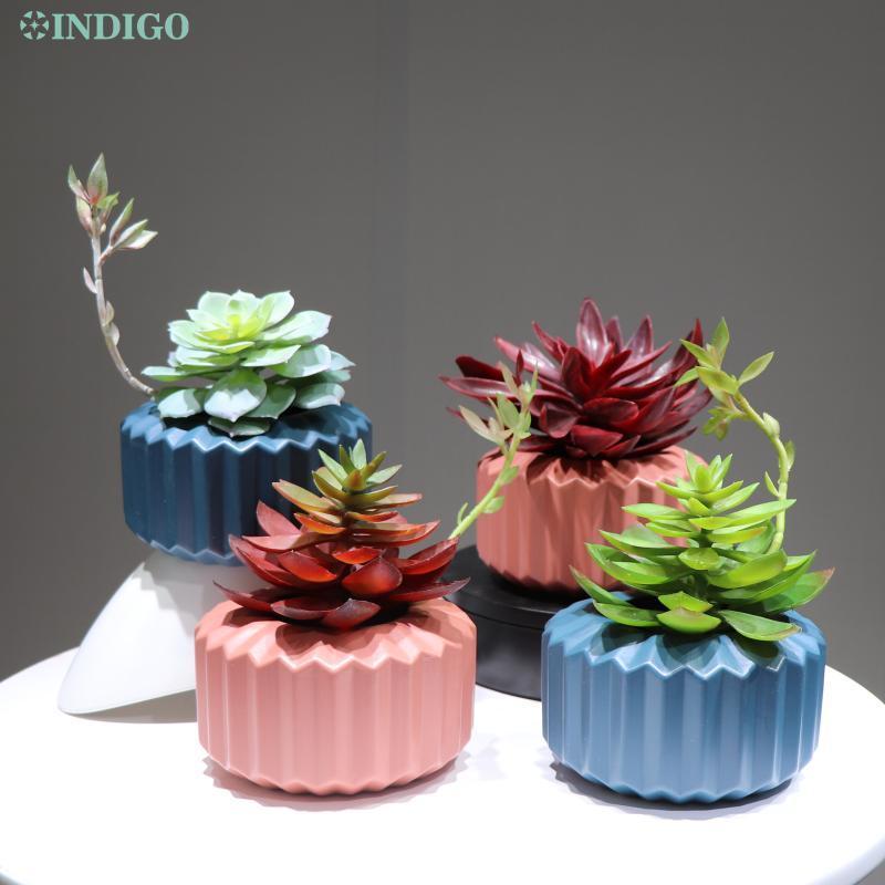 النيلي - النبات الأخضر الصبار نبات عصاري اصطناعي (1 مجموعة مع إناء بلاستيكي) بونساي الجدول الديكور ins صور خلفية