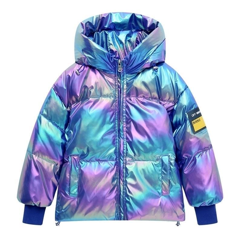 Chaqueta de la moda de la moda de invierno para la ropa de los niños de la muchacha que refleja la chaqueta larga con capucha para niños con capucha para niños de 6 a 12 años 201102