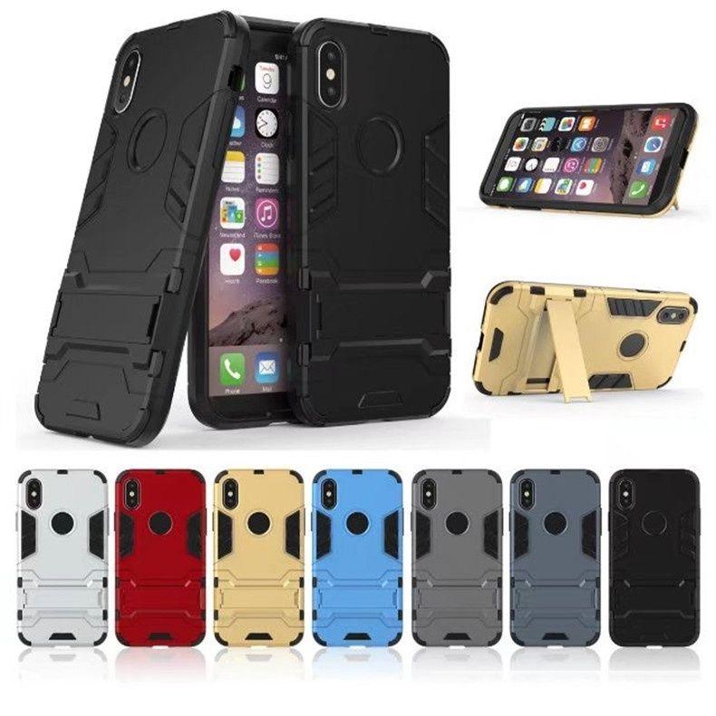 Coque pour iPhone Couverture Slim Slim Armor PC TPU Case de téléphone TPU Couverture arrière avec support invisible pour iPhone XS XR DHL