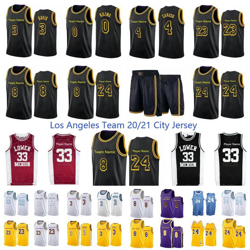 New Season 20/21 Los City Angeles Lower Merion 33 Player Anthony 3 Davis 23 Player 14 Gassol 4 Caruso 0 Kuzma Black Mamba Baskey Jersey