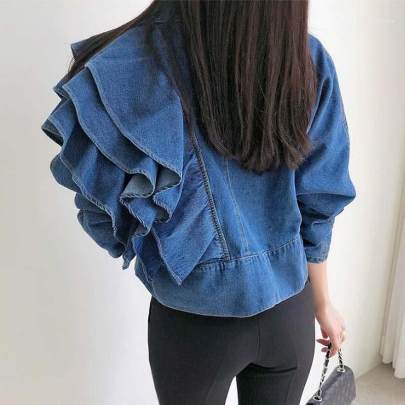 Женщины Джинсовая куртка rugle Hom Slim Женские короткие джинсы Куртки Пальто Винтаж V шеи джинсовая одежда Верхняя одежда Корейский Femme LT434S501
