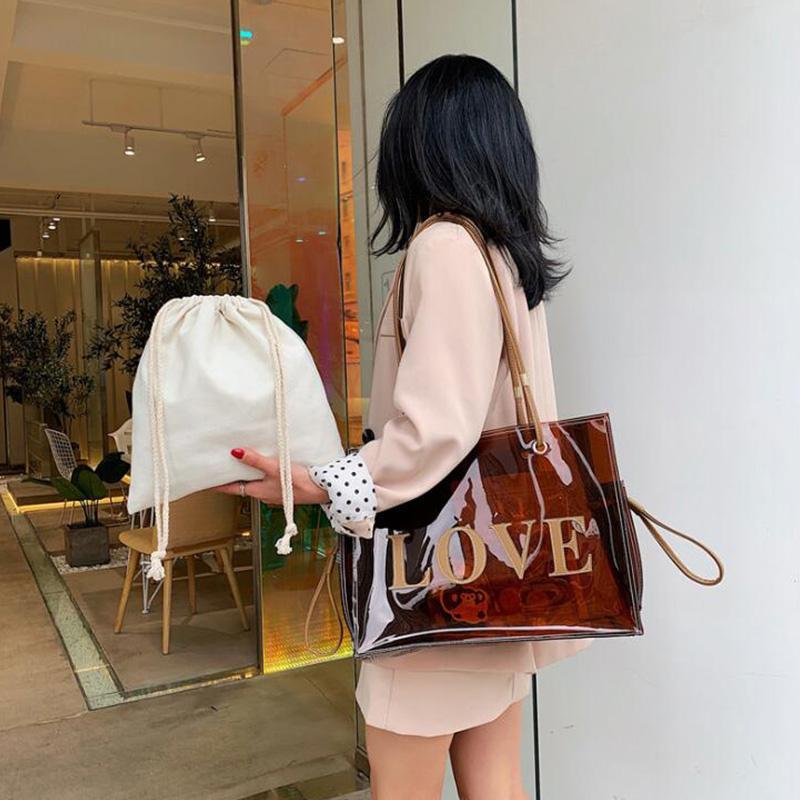 Mode Taschen Tasche Top-Griff Cosmetic Tote Neue Handtasche Große Klare Tasche Tote Für Frauen Handtaschen Frauen Gelee transparent für Mode Taschen NSWB