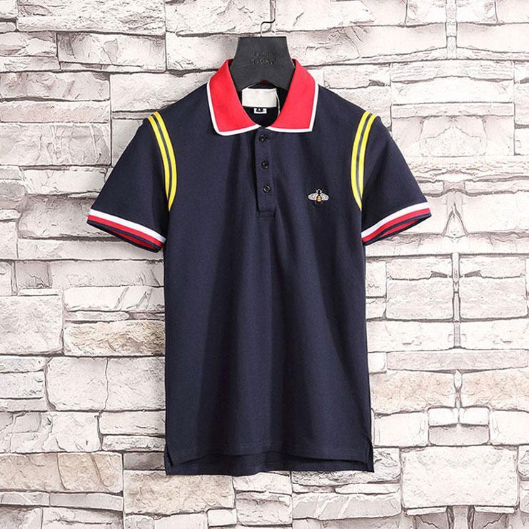 Polo de lujo de los hombres de PP4Italiano Marca de verano Hip-Hop V-cuello abeja bordado estilo clásico algodón polo camisa