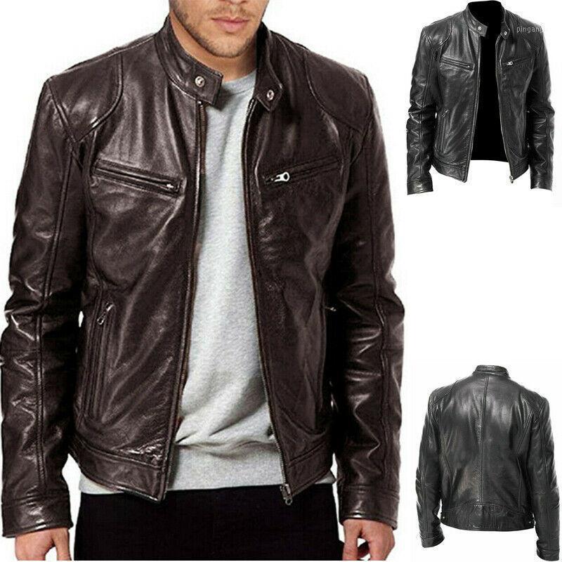 Giacche da uomo caldo inverno giacca da uomo in pelle da uomo a maniche lunghe trench cappotto moto punk outwear zipper stand collare in forma Trendy1
