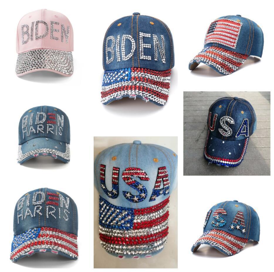 Crystal Strass Biden Baseball Hat Regolabile Denim Ball Caps Snapbacks Shine Diamond Biden Harris USA Bandiera Bandiera Cowboy Visiera Headwear E111802