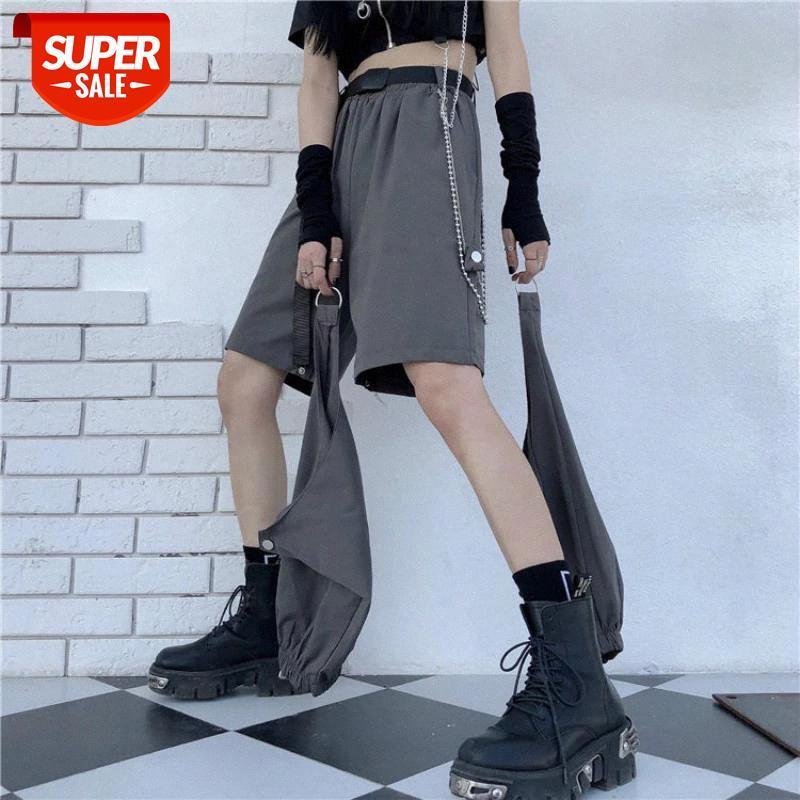 Случайные брюки женские летние грузы свободные пэчворки эластичная высокая талия совокупятся уличная одежда съемные голые колени CHIC Design модный # WW2L