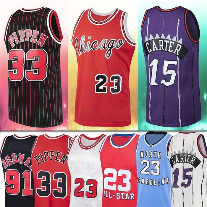 NCAA 23 Rodman Jersey Carter MJ 15 Vince 91 Dennis 33 Scottie Hommes Pippen 1995 1996 Jersiques de basketball rouge