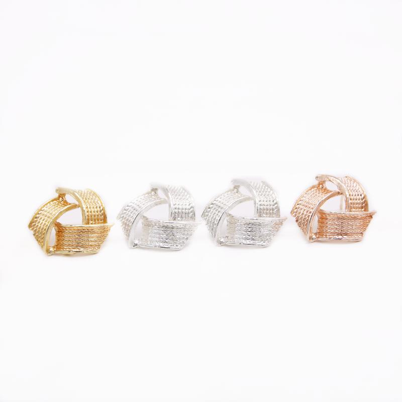 NEW Fashion Simple Wide Stud Earring Environmental Protection Zinc alloy Material Three Ring Style Design Advanced Sense Temperament Earring
