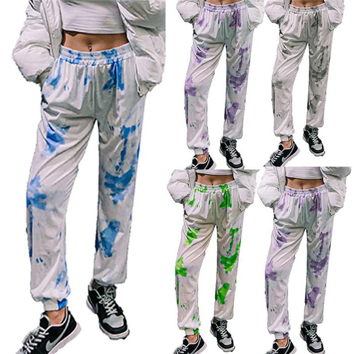 Tie Dye Womens Harem Pants High Waist Loose Casual Trousers Speing Autumn Fashiion Stakeboard Women Clothing 2021