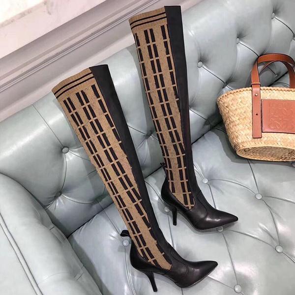 Moda Kadınlar Örgü Çorap Botları Yüksek Topuk 9.5 cm Ayakkabı Bayan Ayak Bileği Çizmeler Seksi Sıska Ayaklar Bayanlar Kış Çizmeler Orijinal Kutusu ile