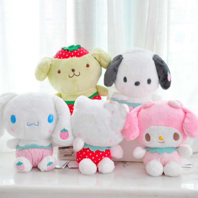 1pc cartoon cartoon fragola melodia pudding cannellall cane peluche peluche cuscino carino ripieno peluche giocattoli regalo 201021