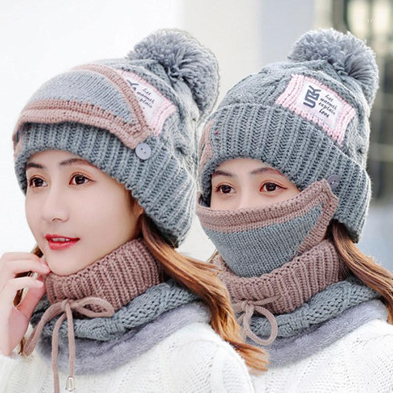 New Women's Winter Hat Set Fashion YMS Patch Cap Add Fur Lined Thick Warm Pompoms Hat Winter Mask 2in1 Knitted1