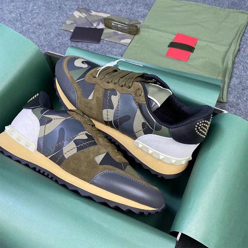 Top Qualität Männer Rockrunner Camouflage Sneakers Designer Platform Trainer Leder Mesh WTIH Bolzen Niet Gummi Bottoms Luxus Geschenkbox 264