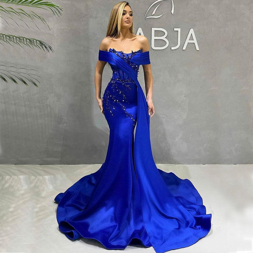 Blue Beaded Mermaid Prom Dresses Off The Shoulder Neck Plus Size Evening Gowns Sequined Sweep Train Satin Formal Dress