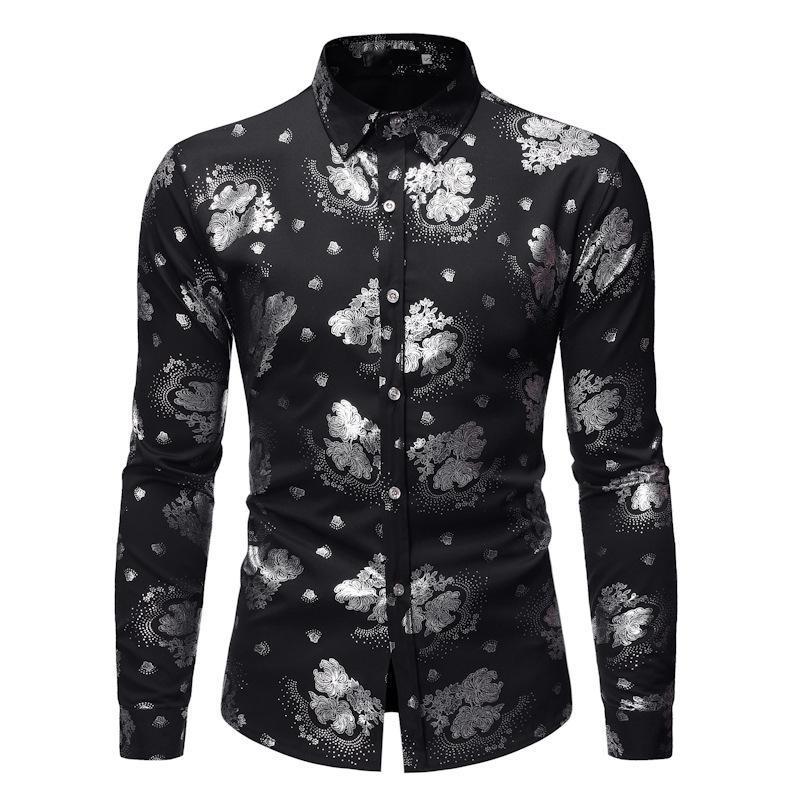 Camisas casuales para hombre Hombre Hipster Plata Estampado de manga larga con estampado de platería para hombre 2021 Primavera Camisa de otoño de primavera
