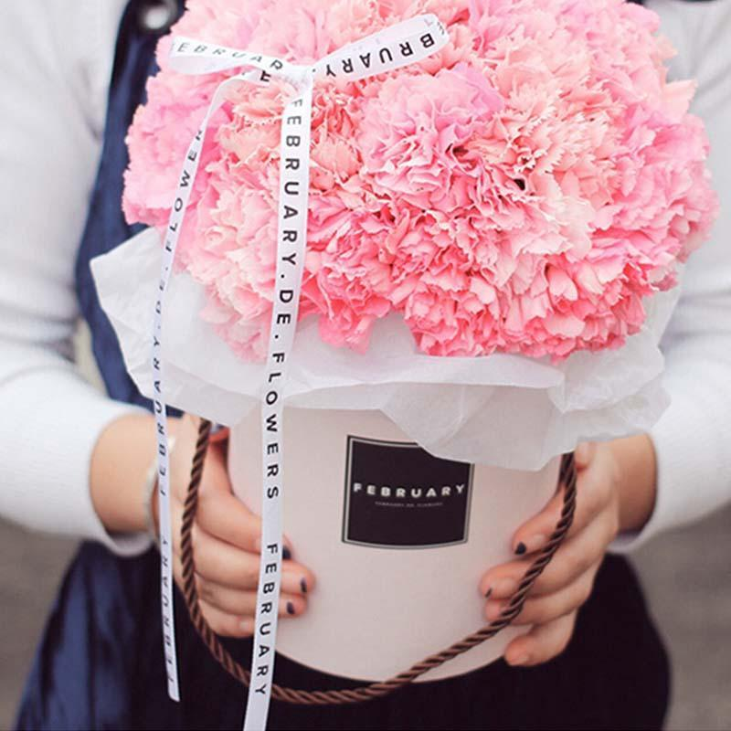 Flores de mano redonda Ramo Mini caja de embalaje de papel con tapa Abrazo Cubo Cubo Fiesta de regalo Boda Cajas de almacenamiento