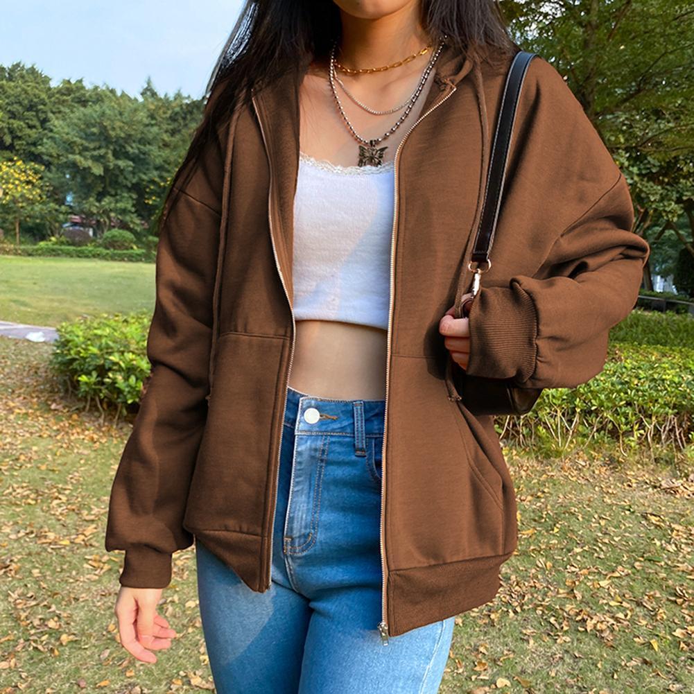 Brown Y2K Sweats à Sweats Sweats Esthétique Vintage Zip Up Sweat-shirt Veste d'hiver Poches à manches longues Solide Pull à capuche Streetwear Q0116