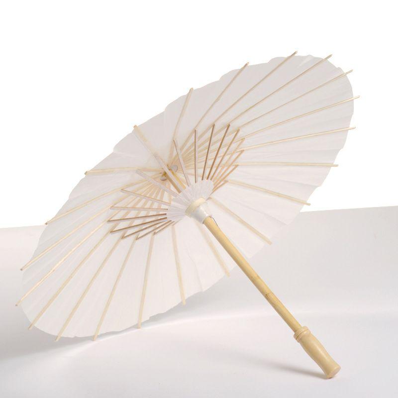 Guarda-chuvas de papel de bambu branco manual artesanato oleado papéis guarda-chuva diy criativo pintura em branco noiva casamento parasol