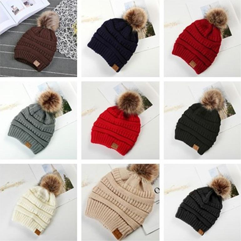 New Kids Adults Thick Warm Winter Hat For Women Soft Stretch Cable Knitted Pom Poms Beanies Hats Women's Skullies Beanies Girl Ski Cap