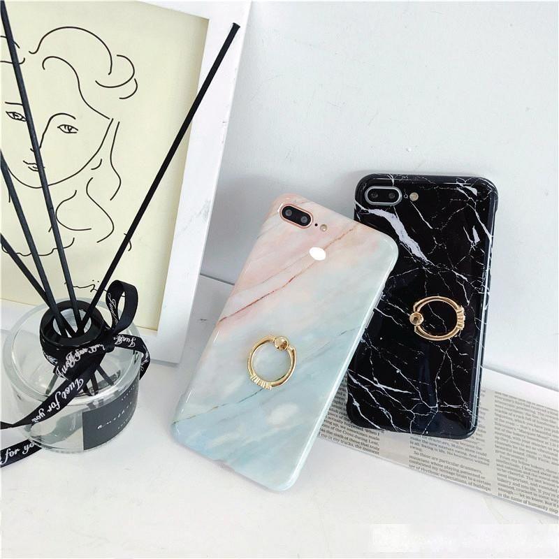 Mermer Telefon Kılıfları Için iPhone X XR XS Max Kapak Parmak Yüzük Tutucu iPhone 6 S 7 8 8 Artı Yumuşak TPU Coque