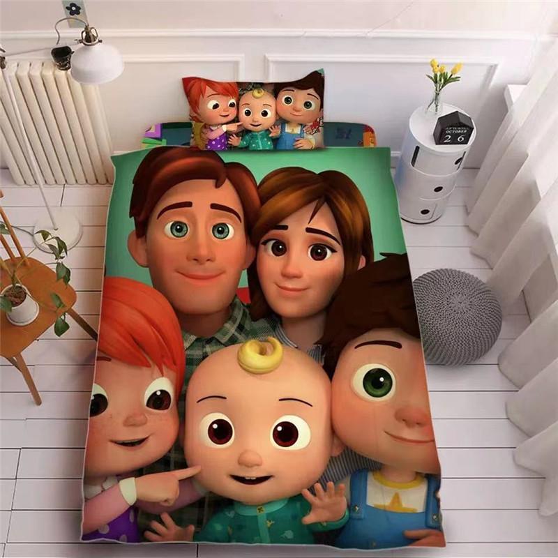 Cocomelon ji 3D impressa folha de cama três peças conjuntos de travesseiros + folha de cama + colcha capa cama linda crianças cocomelon suprimentos