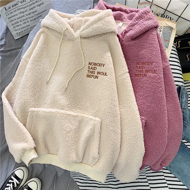 Otoño abrigo de invierno rosa con capucha con capucha disculpa la impresión Harajuku suelto bolsillo con capucha para mujer Fleece franela sudadera femenina