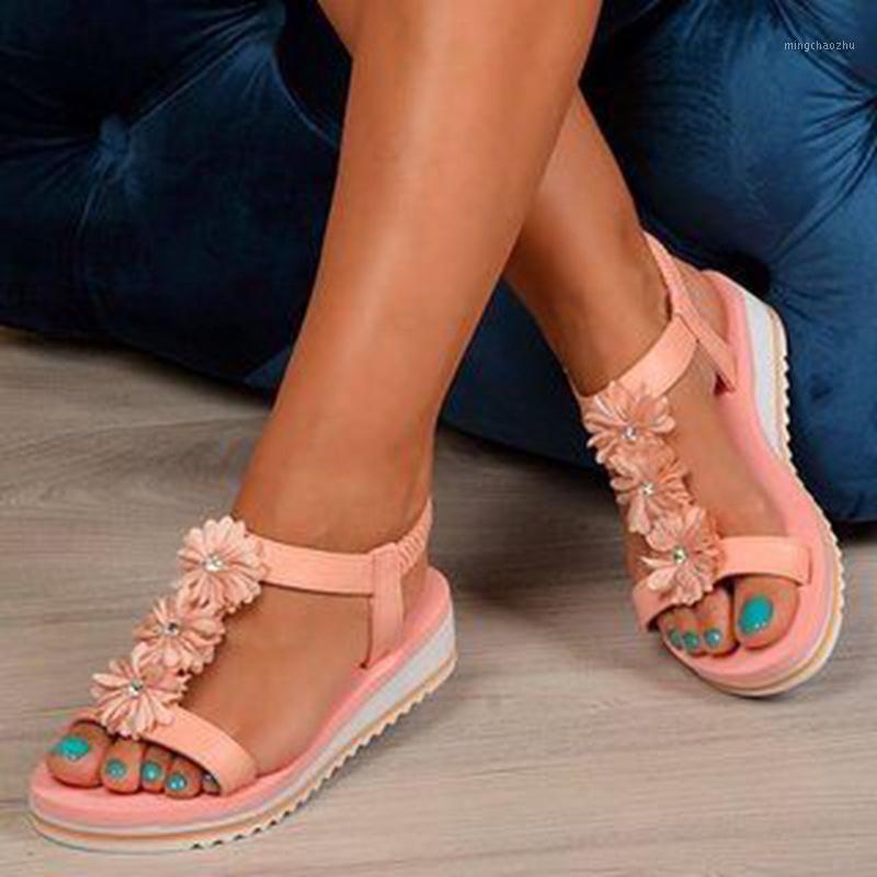 2020 Nuevas mujeres de verano Sandalias planas Plataforma Sandalias Sandalias Damille Strap Strap al aire libre Casual Beach Shoes Womens Plus Tamaño Calzado 1