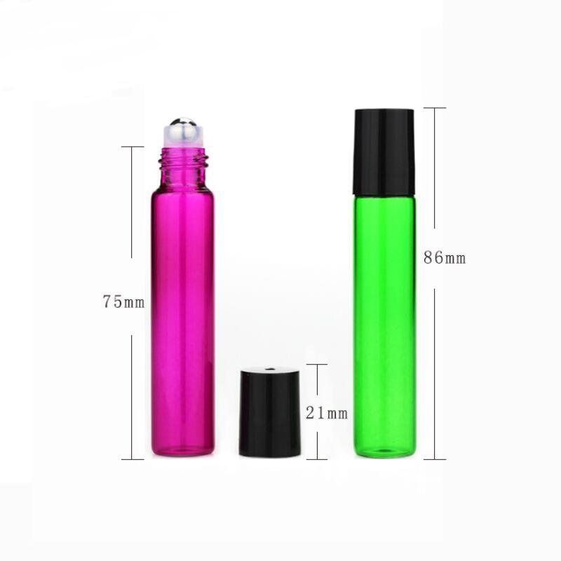 10ML пустой стеклянный рулон на янтарном прозрачном роликовом контейнере 1 / 3oz для эфирного масла, ароматерапии, парфюмерии и бальзамы для губ NWD3128