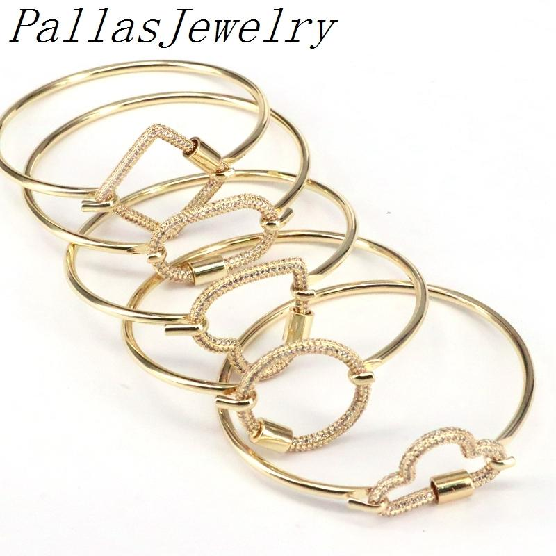 5 шт. Gold Plating CZ Micro Pave Heart / Oval / Round / Clouds Form Classps Clasps пряжки Браслет Z1124