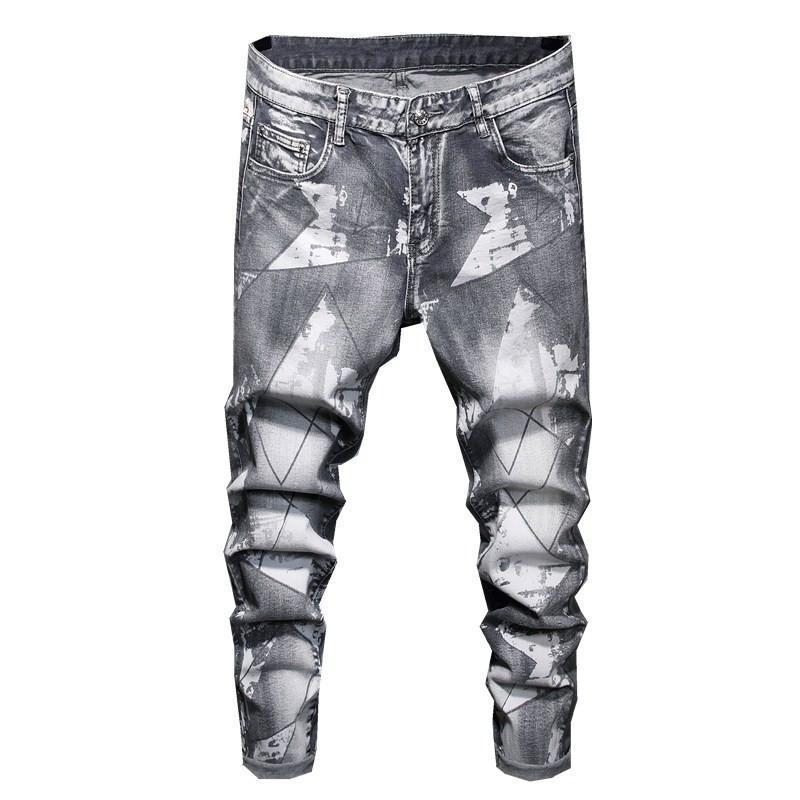Mens Jeans Mode Imprimé Jeans Pantalons lavés Couleur Gris Denim Pantalons Mâle Streetwear Casual Fashion Style