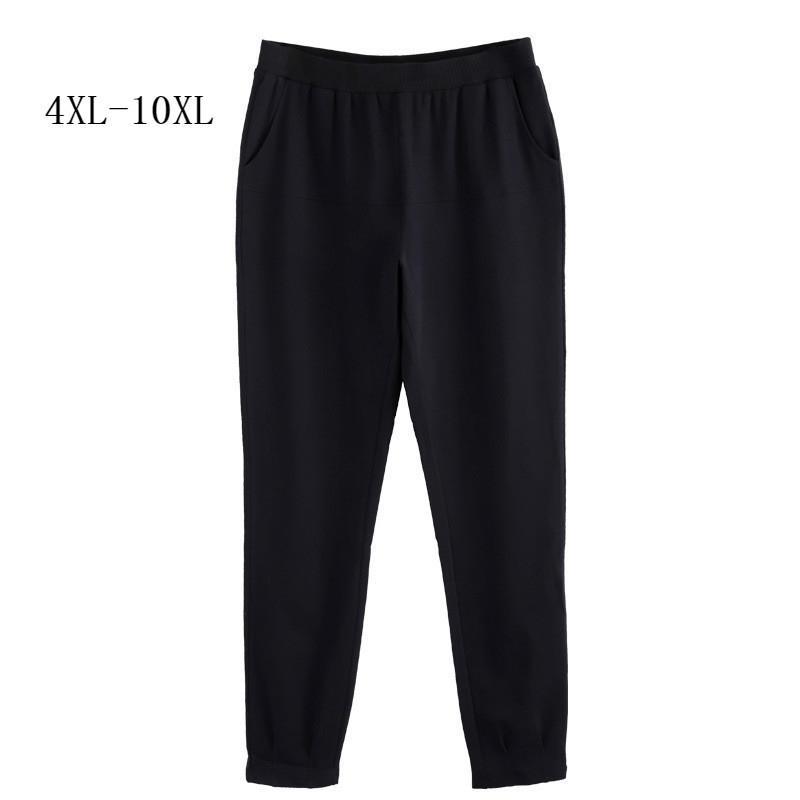 As mulheres calças outono plus tamanho 10xl 8xl 6xl 4xl média envelhecido mulheres mulheres cintura alta lápis slim preto pantalon femme y200418