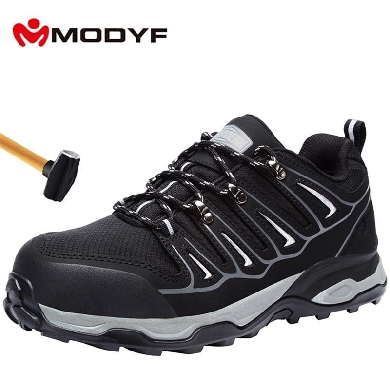 Chaussures de sécurité pour hommes Modyf Hommes Steel Toe Air respirant Anti-fras-à-Chausse Protection antidérapante Chaussures de protection Y200915
