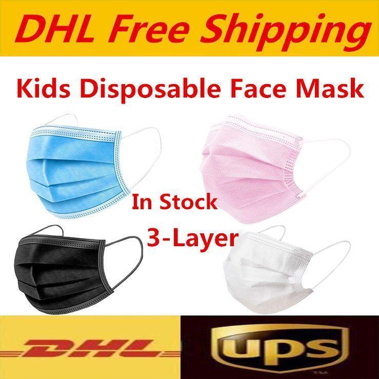 UPS DHL envío gratis blanco rosa blanco mascarilla desechable máscaras para niños máscara colorida 3 capas balck polvo máscaras máscaras cubierta 3-caply en stock