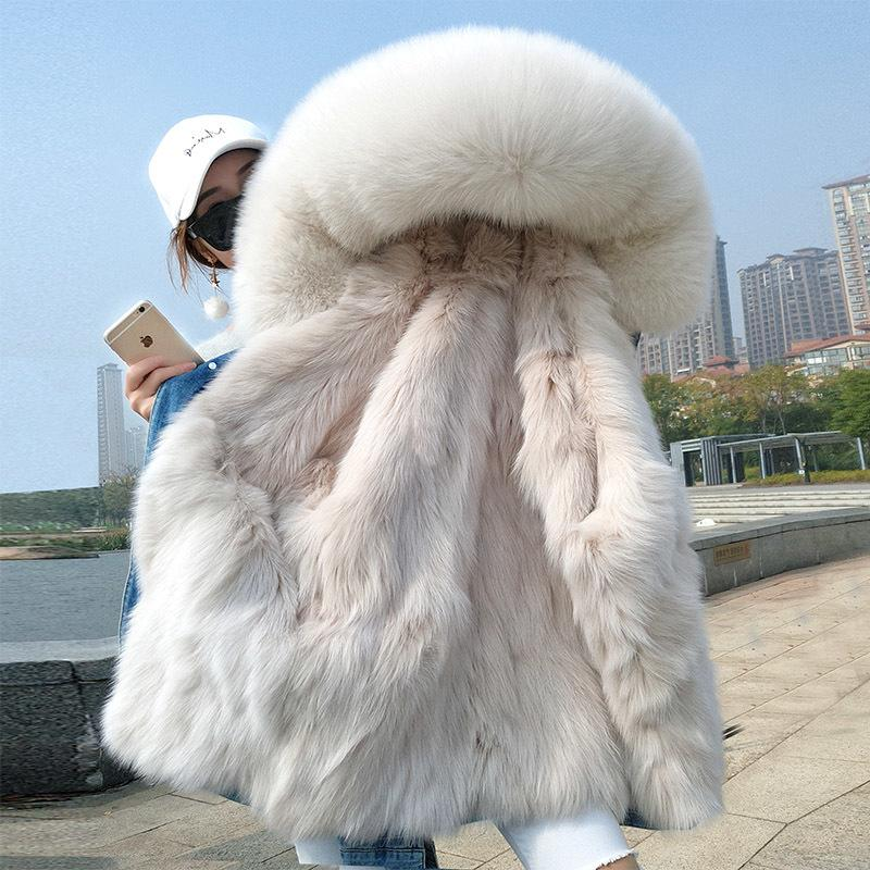 New Women Winter Jacket Soft Warm Denim Jacket Natural Fox Lined with Fox Fur Collar Park Coat Fashion Warm Loose FUR Parka 201211