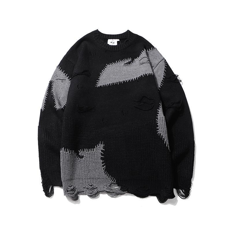 Sweater para hombre O cuello de gran tamaño lana de lana Bloque de bloqueo suéteres deshilachados Pullover Baggy Hip Hop Pareja Ropa