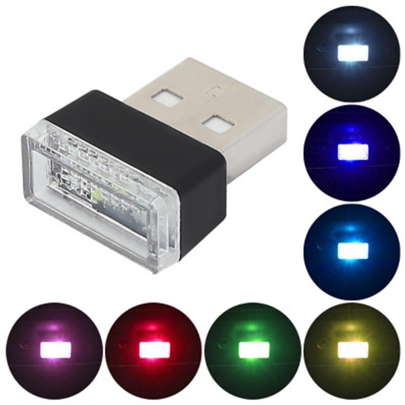 Mini lampe décorative USB voiture LED Atmosphère lumières lumineuses d'éclairage de secours Cylise automatique Auto Intérieur Lampe ambiante
