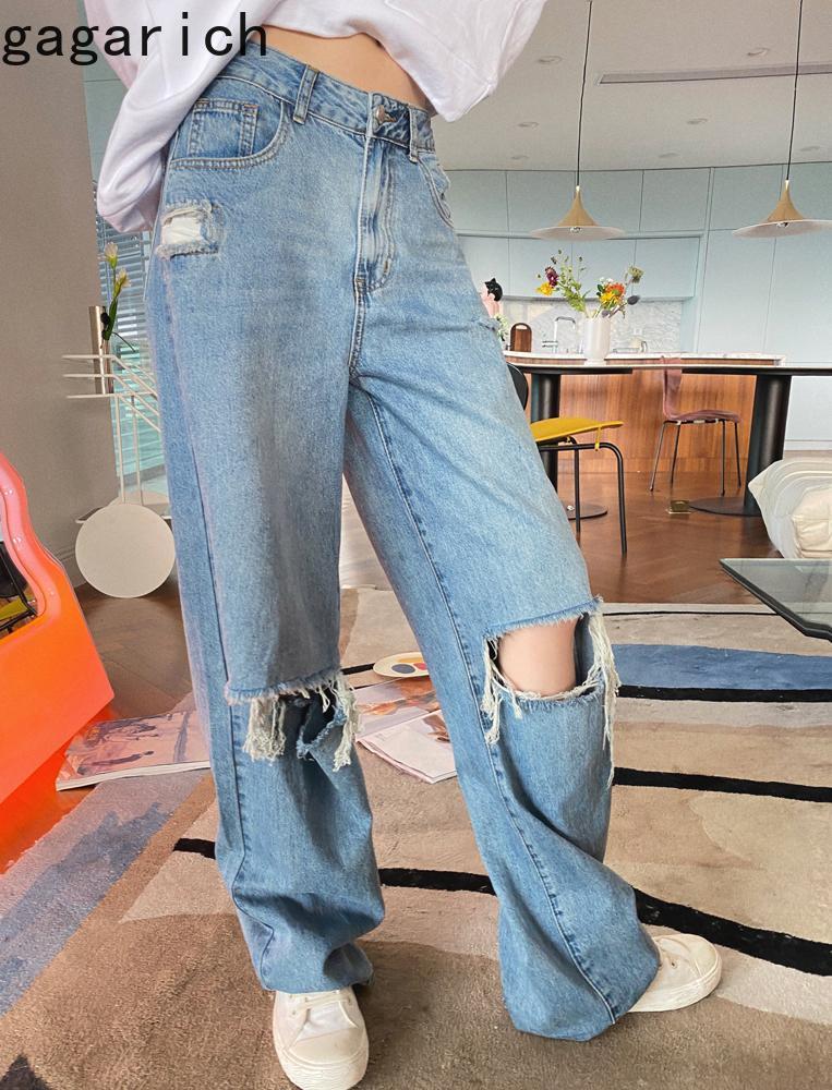 Gagarich mujeres jeans 2021 primavera otoño coreano elegante vintage temperamento hembra alta cintura recta suelta pierna ancha pantalones