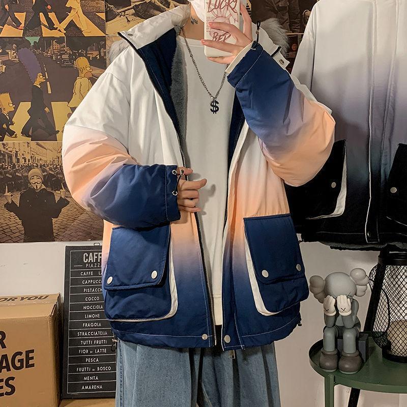Мужские пушистые Parkas 2021 зимняя утолщение шерстяной траншеи пальто меховой воротник с капюшоном Homme мода градиентный цвет хлопчатобумажную одежду