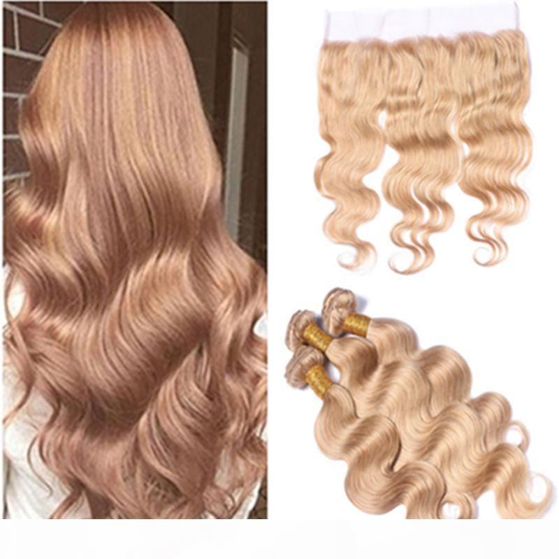 # 27 Honey Blonde Virgin Virgin Brasileño Tejido con encaje Frontal Cierre Body Wave # 27 Strawberry Blonde 3bundles con 13x4 Full Encace Frontal