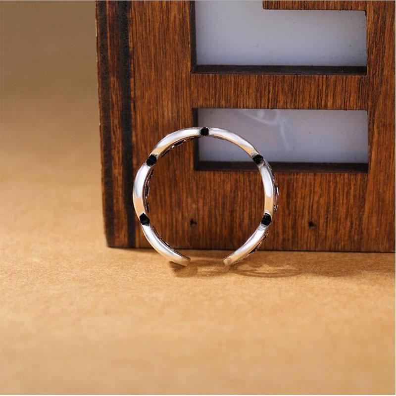 Moda hueco anillo ajustable joyería retro vintage thai plateado color anillos para mujeres hombres S-R272