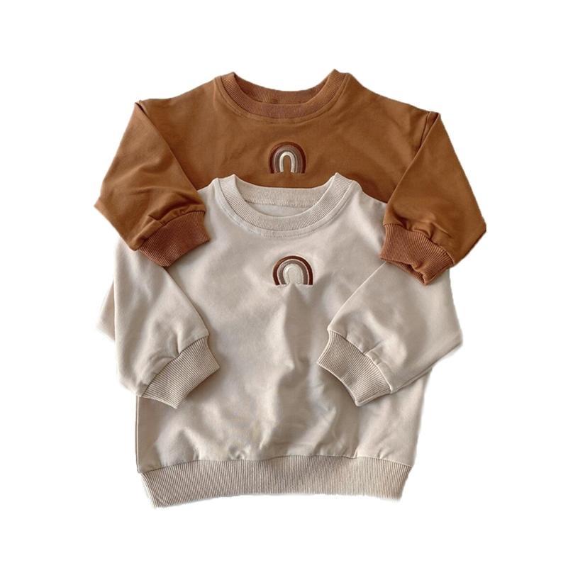Осенний малыш Baby Girls Boys Rainbow Вышивка Топышки Детские Футболка Длинные Рукава Толстовка Детская Одежда для одежды 201222