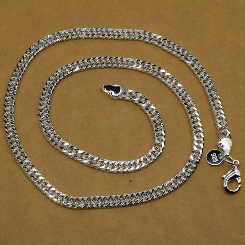Moda jóias de prata esterlina 925 Plano geométricas Cadeia Feminina presente da festa de casamento colar de fecho da lagosta