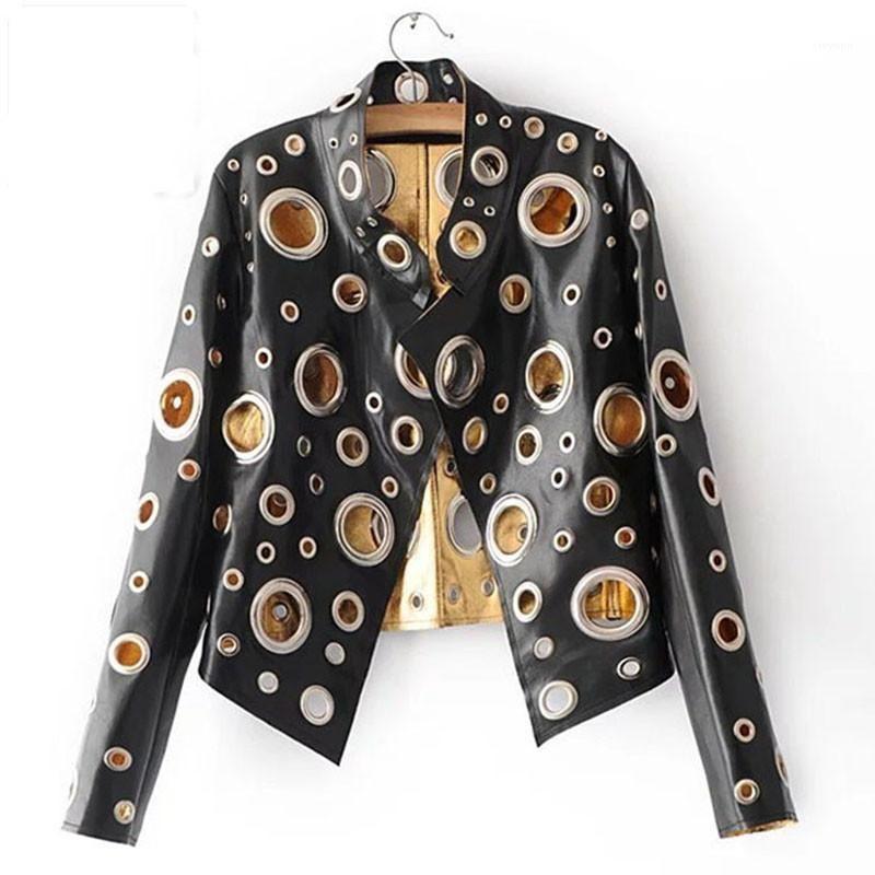 2020 Bahar Kişilik PU Yuvarlak Delik Kadın Ceket Altın Siyah Gümüş Renk Standı Yaka Uzun Kollu Ceket Deri Giyim Top1