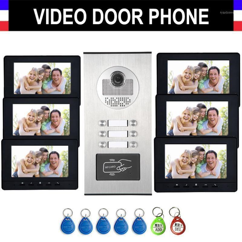 Video-Door-Telefone 6-12 Einheiten Wohnung Intercom-System Telefon Kit 7-Zoll-Monitor mit RFID-Keyfobs für den Haushalt1