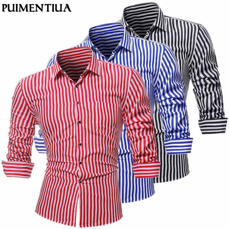 Puentiua мужская мода Новый полосатый с длинным рукавом повседневные рубашки весна лето бренд формальное платье рубашки мужские топы L-4XL