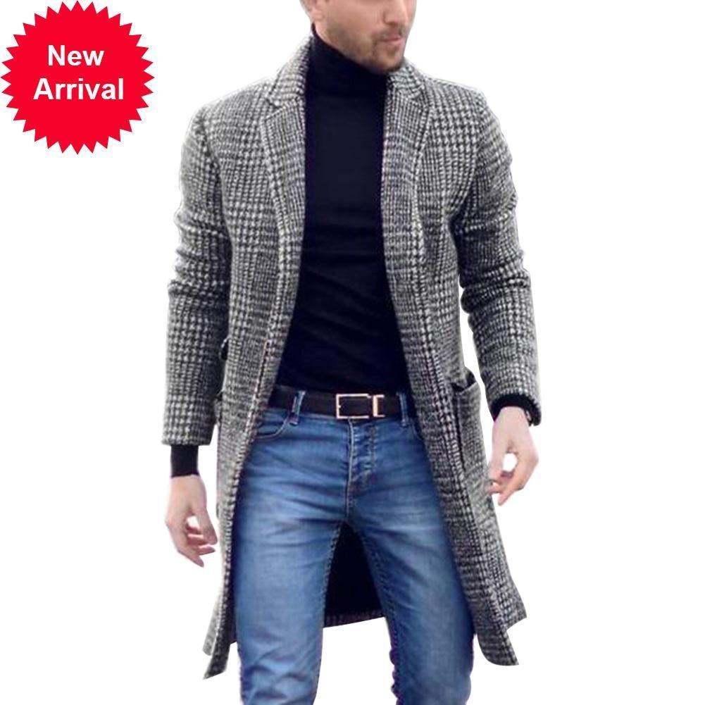 LES VENTES CHAUDES! Vintage Hommes Automne Plaid Plaid Collier MIDI Woolen Slim Cardigan Beau Manteau chaud pour hommes